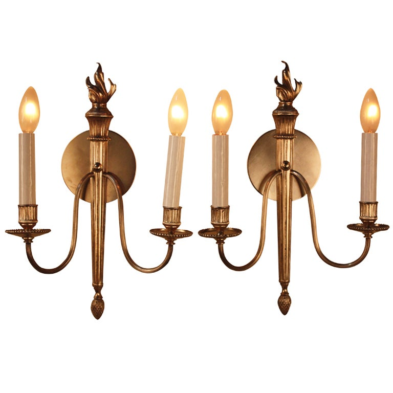 Wall Sconces Nickel : Nickel On Bronze Wall Sconces at 1stdibs