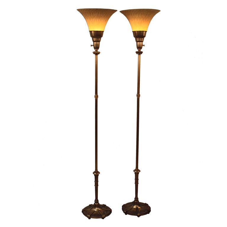 Pair of rembrandt torchiere floor lamps at 1stdibs for Floor lamp vs torchiere