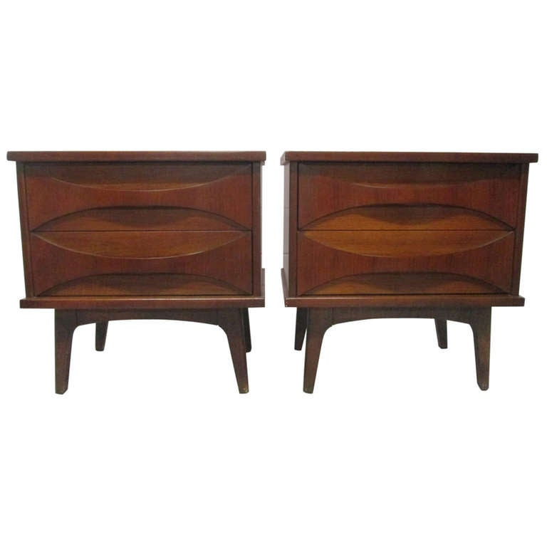 1960s Sculptural Front Walnut Nightstands