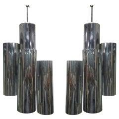 Pair of Chrome Tubular Light Pendants