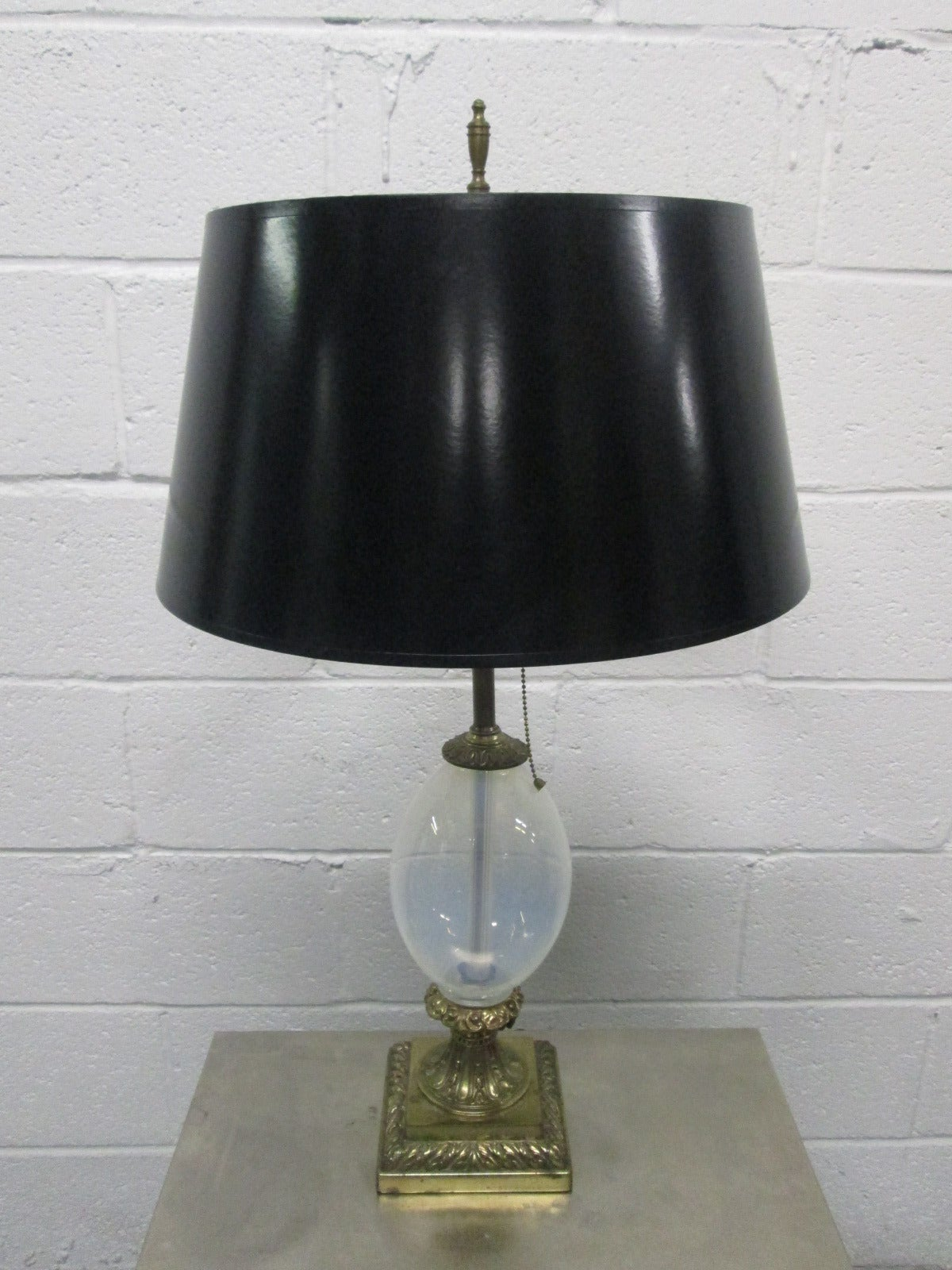pair hand blown opalescent glass and brass lamps for sale. Black Bedroom Furniture Sets. Home Design Ideas