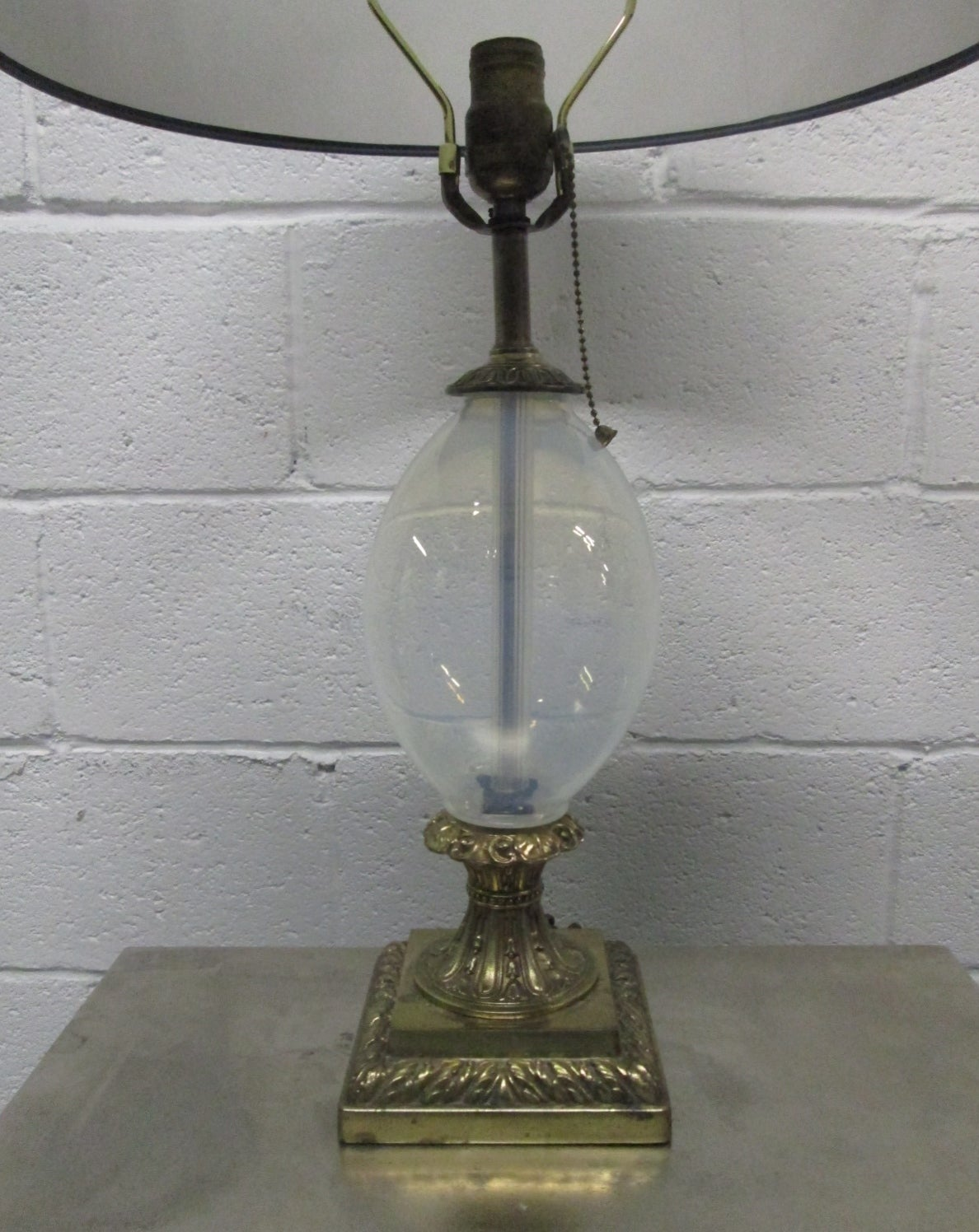 Pair Hand Blown Opalescent Glass And Brass Lamps For Sale