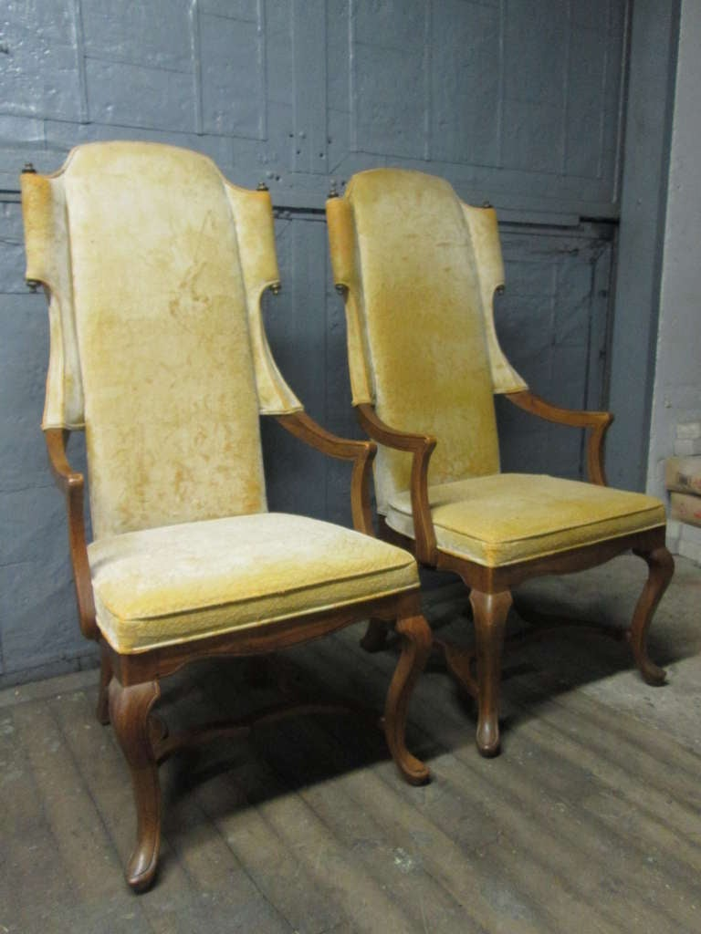 Pair Tall Wingback Chairs For Sale At 1stdibs