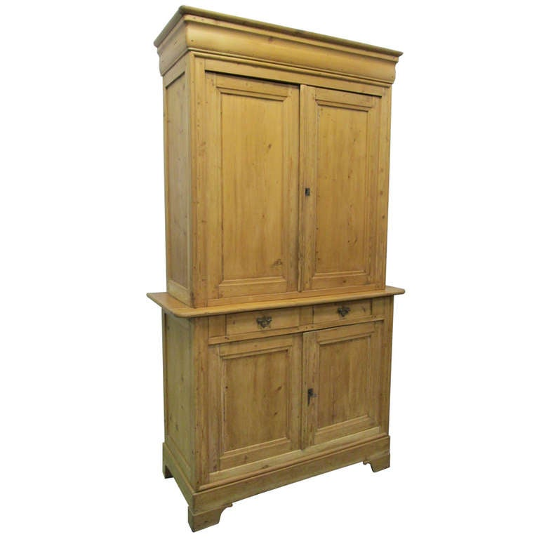 19th c french country antique pine cupboard cabinet at for Antique pine kitchen cabinets