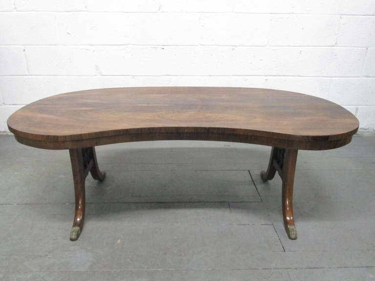 French Antique Rosewood Kidney Shaped Coffee Table 2