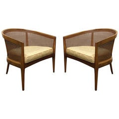 Pair of Walnut Lounge Chairs Kipp Stewart for Directional