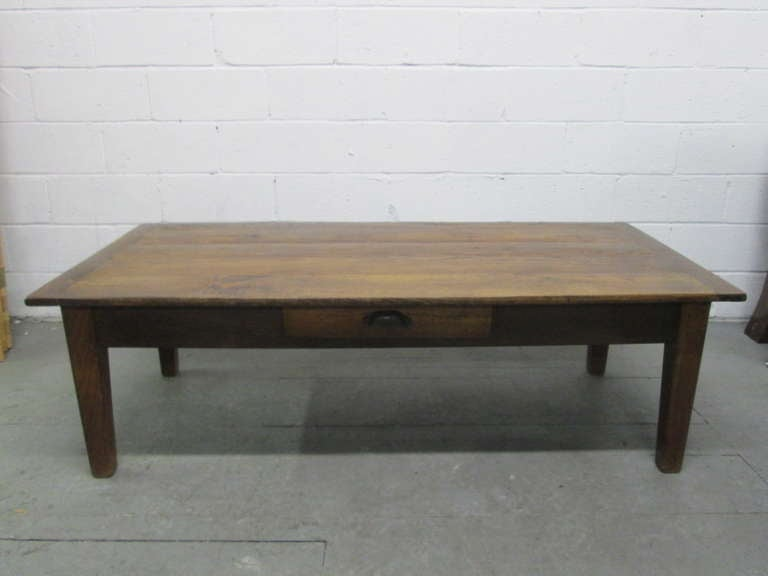 Antique Country Style Plank Top Coffee Table For Sale At 1stdibs