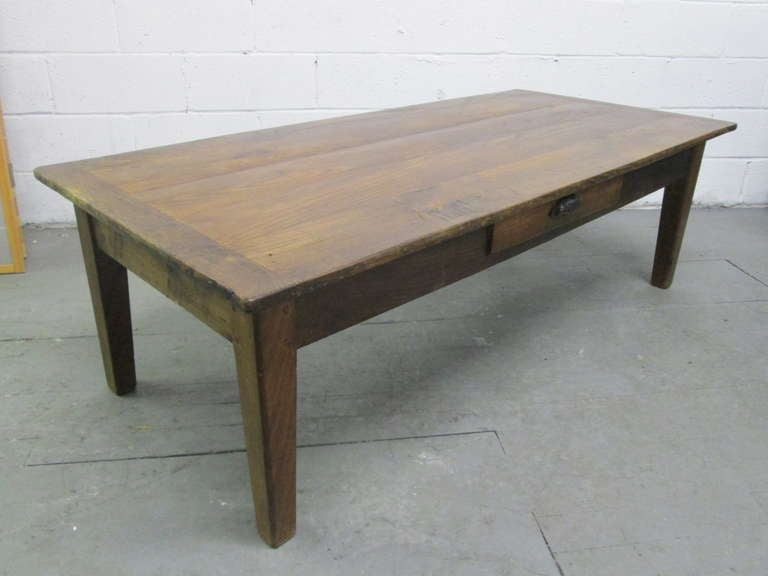 Antique Country Style Plank Top Coffee Table Image 2