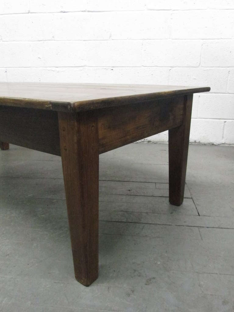 Antique Country Style Plank Top Coffee Table Image 6