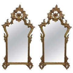 Pair of French Antique Hand-Carved Wooden Gilded Mirrors