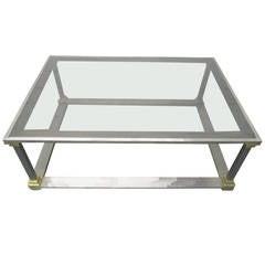 Brushed Steel and Brass Coffee Table
