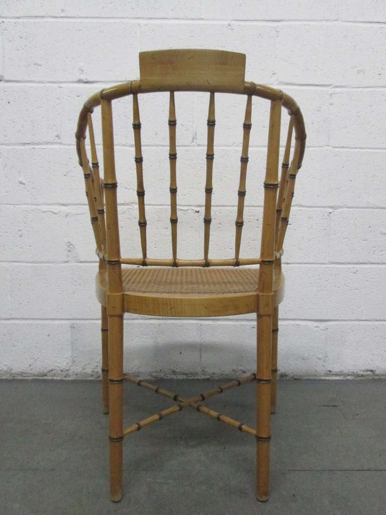 Pair of Faux Bamboo Chairs In Good Condition For Sale In New York, NY