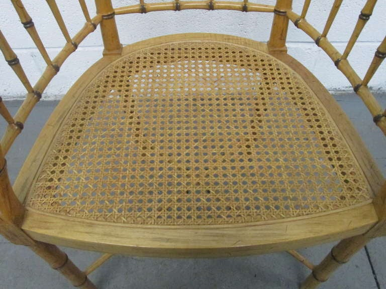 Mid-20th Century Pair of Faux Bamboo Chairs For Sale