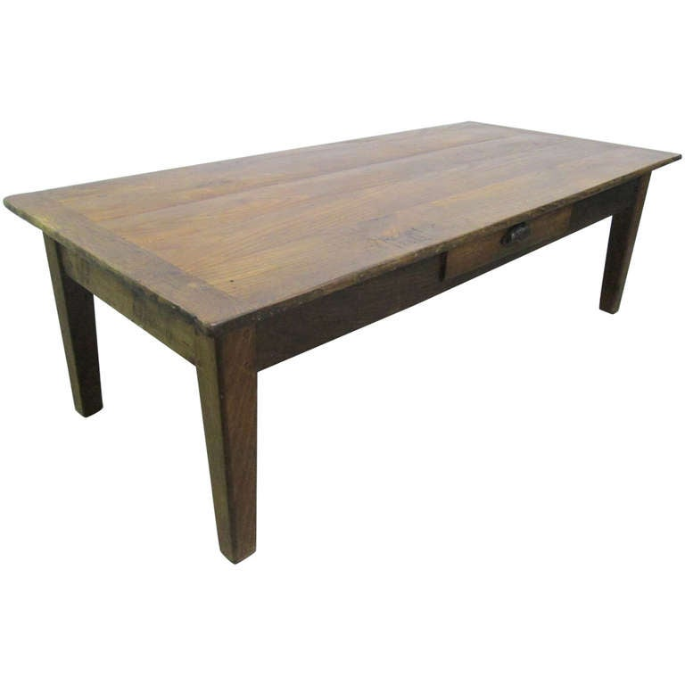 Antique Country Style Plank Top Coffee Table At 1stdibs
