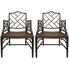 Pair Chinese Faux Bamboo Chippendale Style Arm Chairs