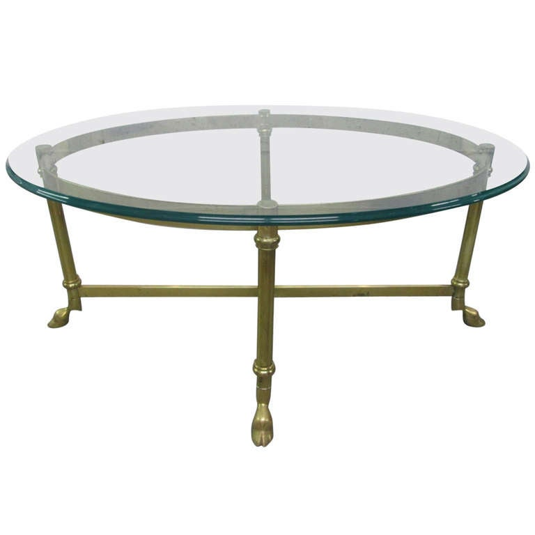 French brass and glass oval shape coffee table for sale at 1stdibs Oval shaped coffee table