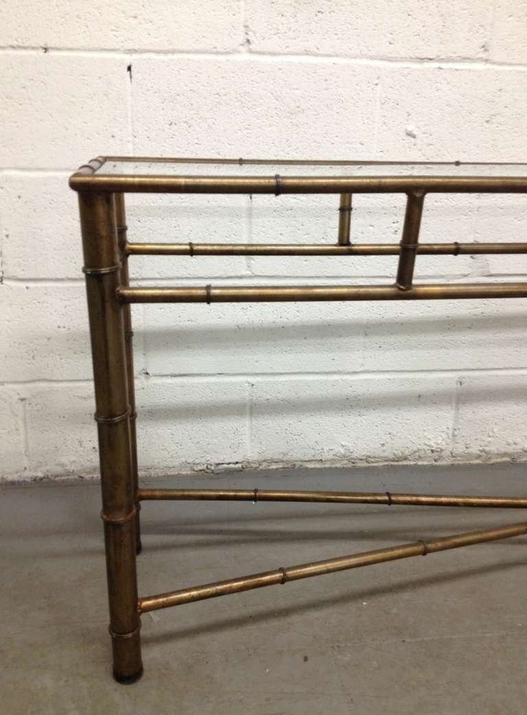 Faux Bamboo Glass Top Console Table For Sale At 1stdibs
