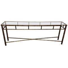 Faux Bamboo Glass Top Console Table