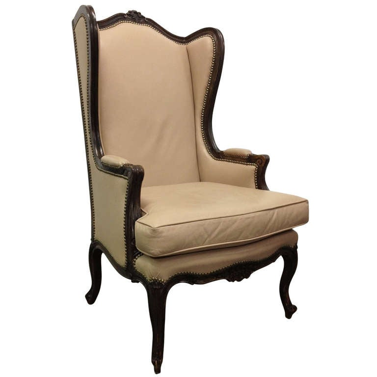 french leather wingback chair with brass stud trim for sale at 1stdibs. Black Bedroom Furniture Sets. Home Design Ideas