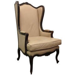 French Leather Wingback Chair with Brass Stud Trim