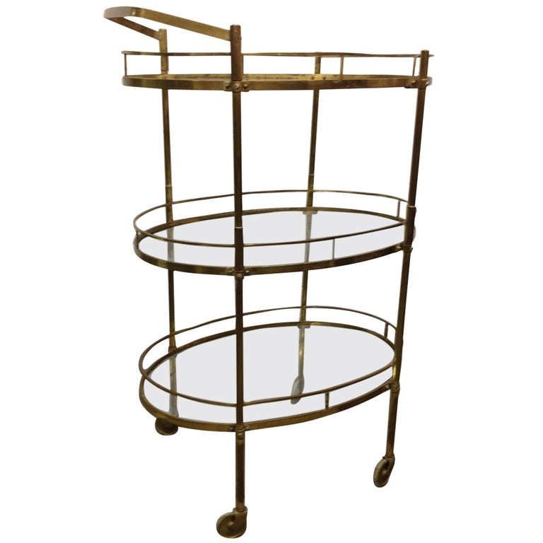 Brass Three-Tier Bar Cart