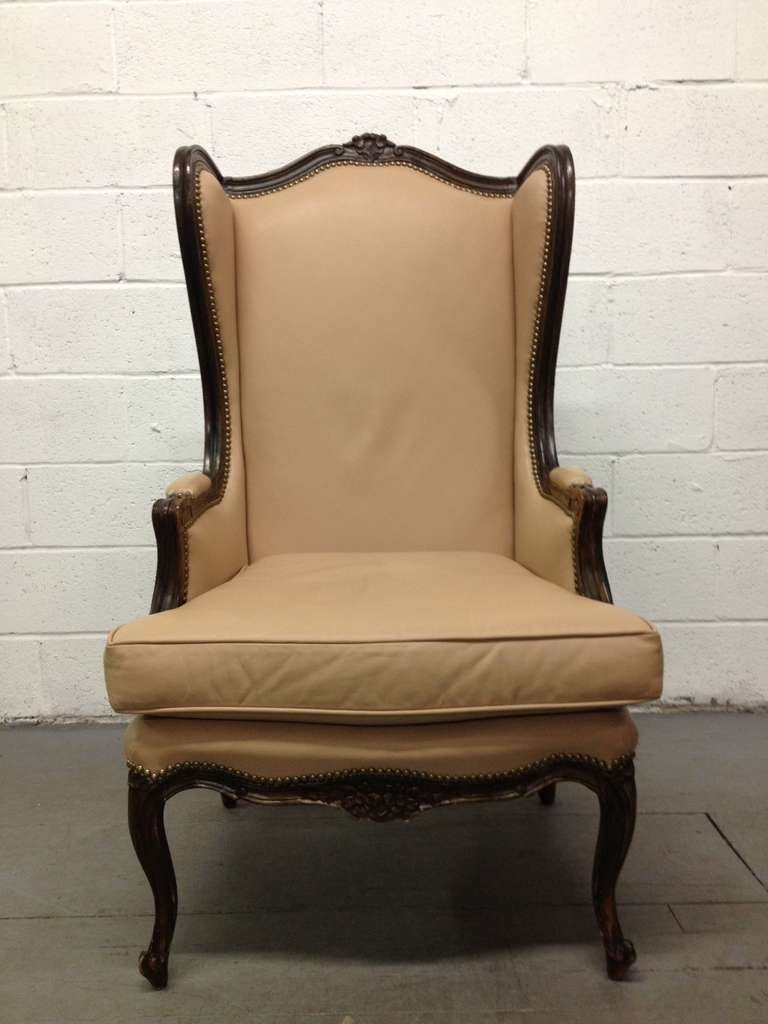 French Leather Wingback Chair with Brass Stud Trim For Sale at 1stdibs