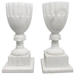 Pair of Unique Italian Carrara Marble Urn Lamps