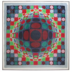 Victor Vasarely 1969 Op Art Silk Scarf Screen-Print Signed