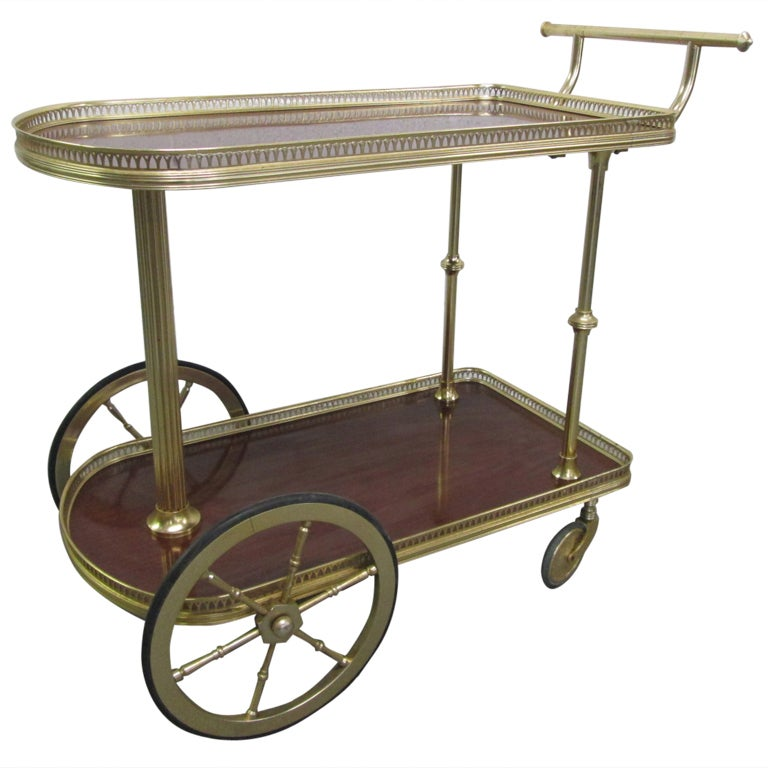 French Bronze Rolling Bar Cart At 1stdibs