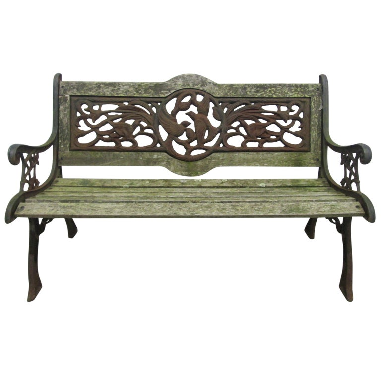Vintage Wrought Iron Garden Bench 1