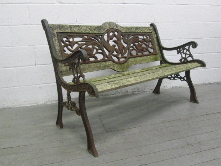 High Quality Vintage Wrought Iron Garden Bench At 1stdibs