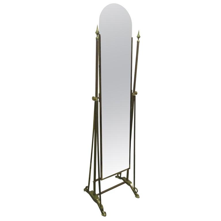 Art Deco Brass Cheval Mirror