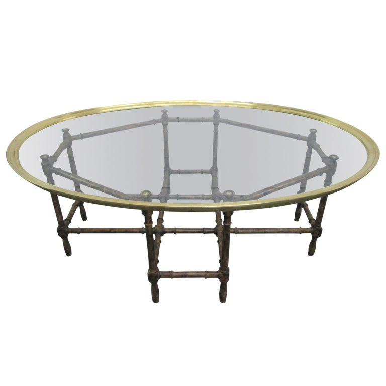 Baker Faux Bamboo And Brass Tray Top Coffee Table For