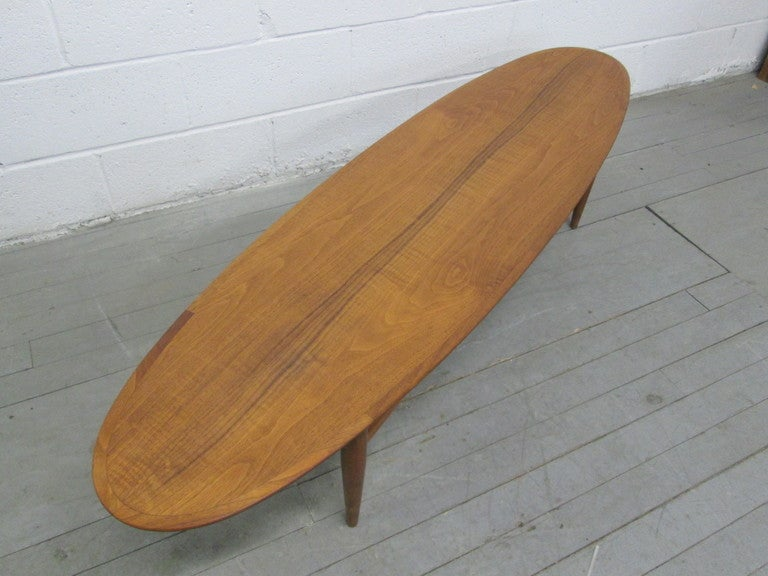 Mid Century Modern Surfboard Style Coffee Table By Heritage At 1stdibs