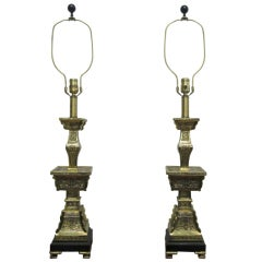 Pair of Frederick Cooper Asian Inspired Brass Lamps