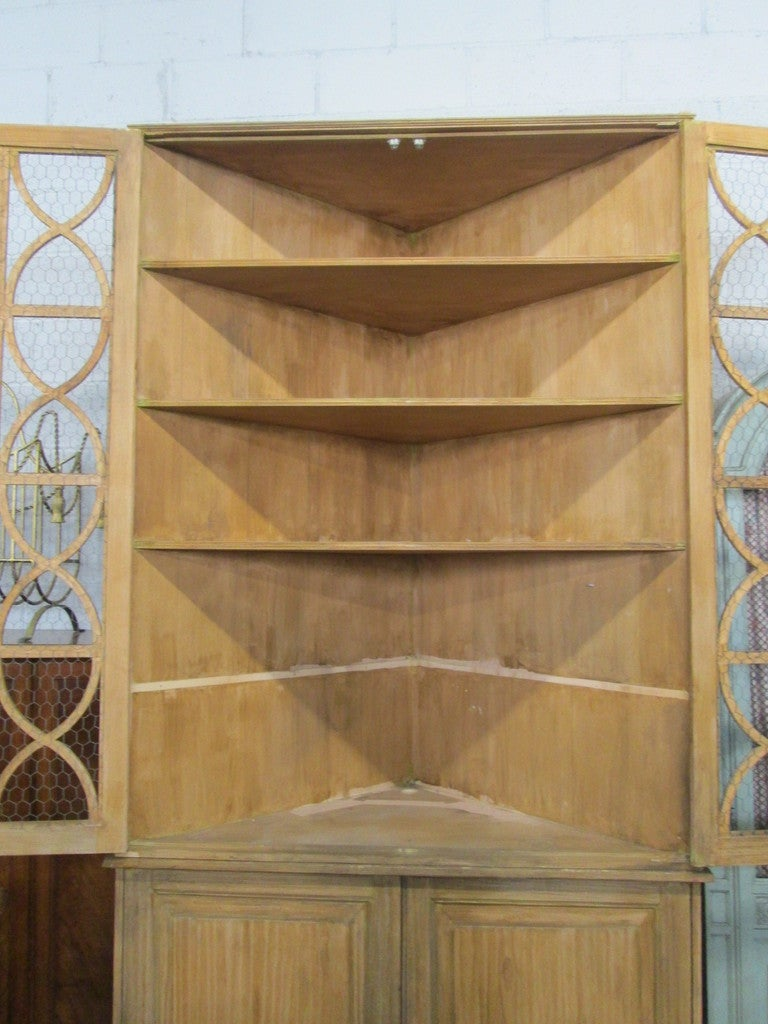 Large French Country Corner Cabinet Cupboard at 1stdibs