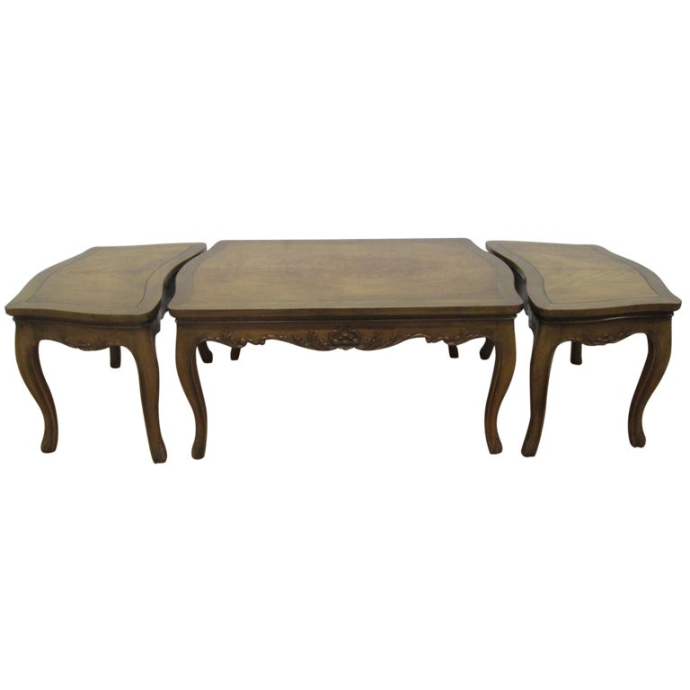 French Style 3 Piece Table Set Coffee Table Pair End Tables At 1stdibs