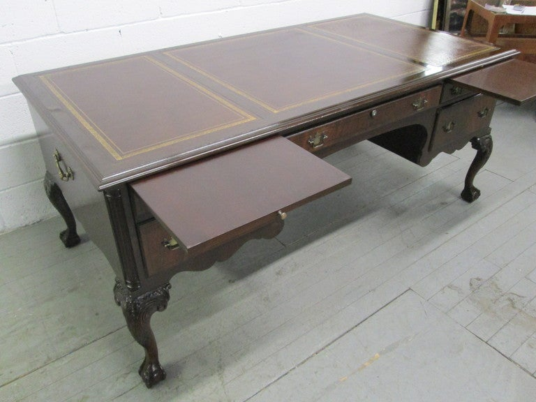 American Large Queen Anne Style Executive Antique Style Partners Desk For  Sale - Large Queen Anne Style Executive Antique Style Partners Desk For