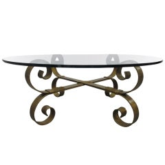 French Baroque Style Wrought Iron Coffee Table