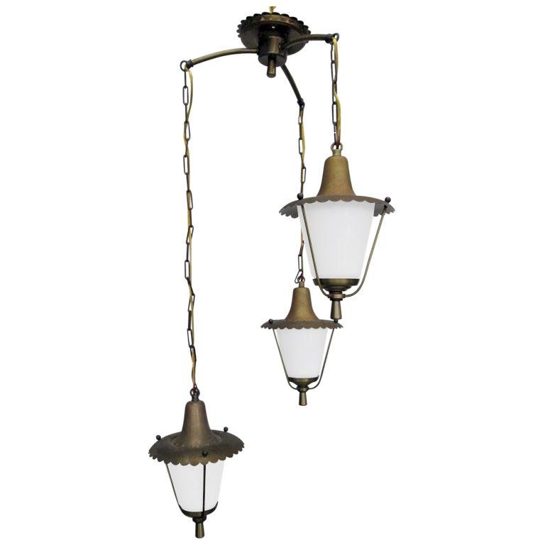 Fractal Pendant Lights: French 3 Pendant Brass Light Fixture At 1stdibs