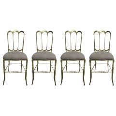 Set 4 Regency Brass Italian Chiavari Side Dining Chairs