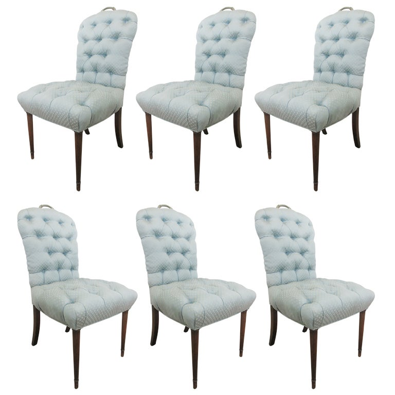 Set 6 regency style tufted dining chairs at 1stdibs - Tufted dining room chairs ...