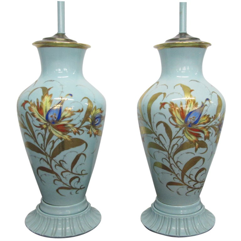 Pair of Decorative Hand-Painted Ceramic Urn Lamps