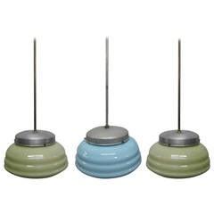 Three Italian Aluminum and Glass Light Fixtures