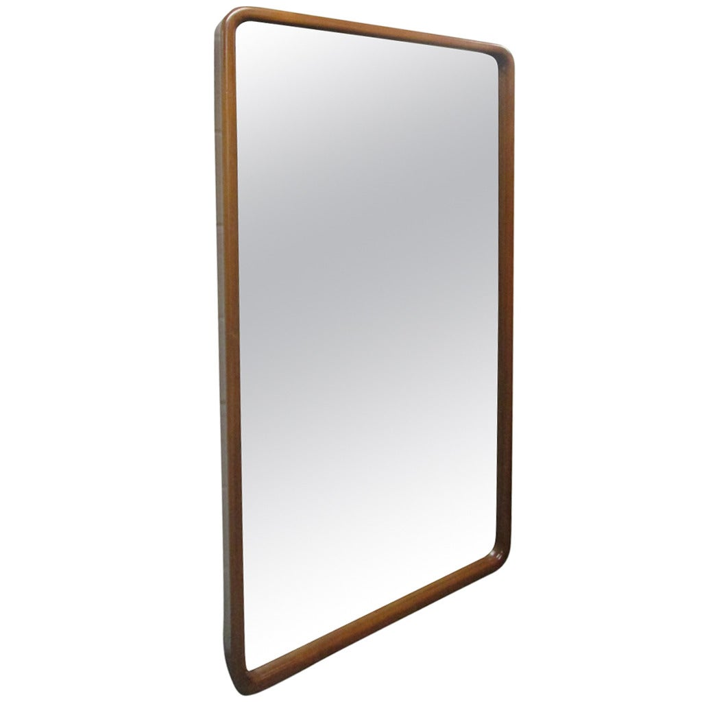 Large mid century modern walnut mirror at 1stdibs for Large contemporary mirrors