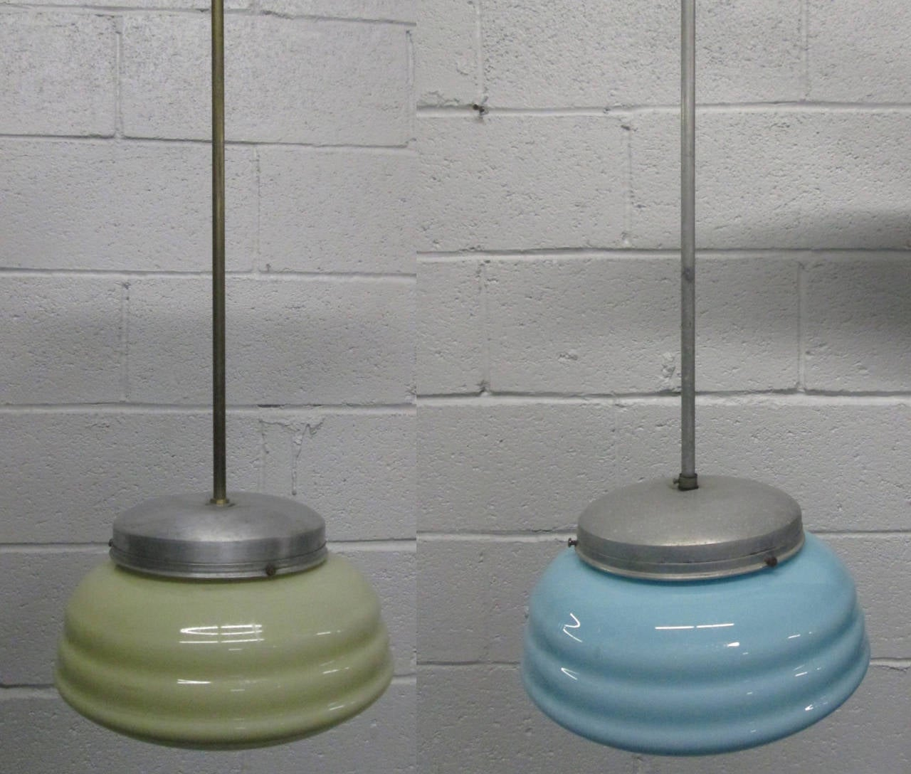 3 Italian Aluminum and Glass Light Fixtures. Two are light yellow and one is light blue. Perfect for a cafe or dining area.
