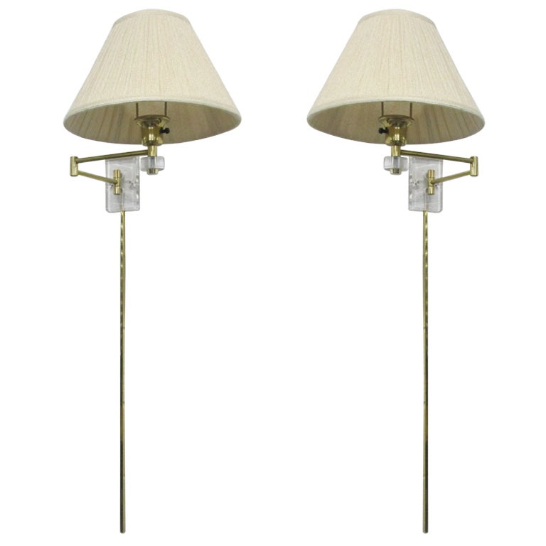 Pair Lucite and Brass Long Stem Retractable Wall Sconces at 1stdibs