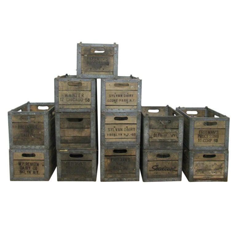 13 vintage wood milk crates 1