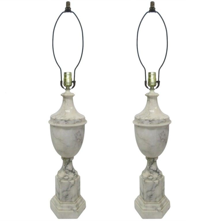 Pair of Neoclassical Italian Marble Urn Lamps