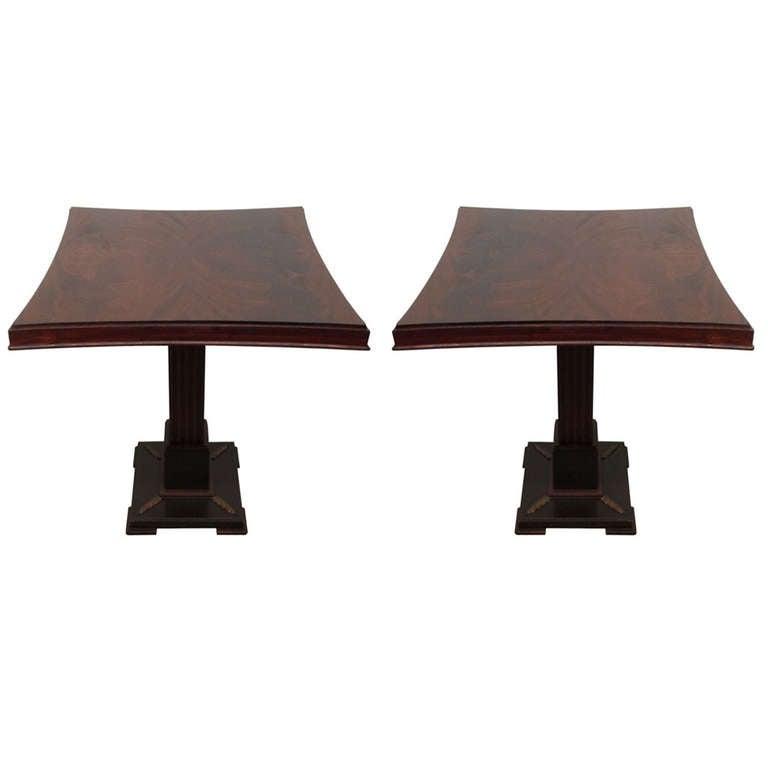 Pair James Mont Pedestal Tables